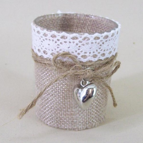 Hessian Burlap and Lace Glass Votive Candle Holder with Heart Charm - GL075 8D