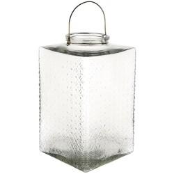 Large Pressed Glass Hurricane Lantern Clear 35cm - GL141