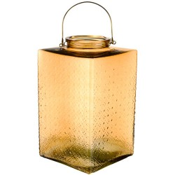 Large Pressed Glass Hurricane Lantern Gold 35cm - GL142 4D