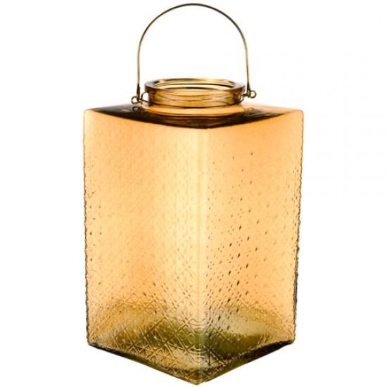 Large Pressed Glass Hurricane Lantern Gold 35cm - GL142 4D