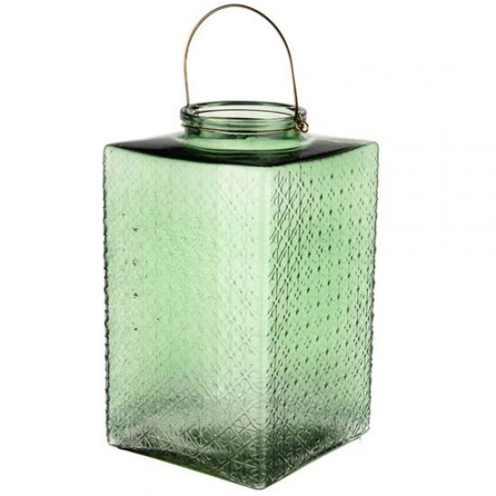 Large Pressed Glass Hurricane Lantern Green 35cm - GL143 4B