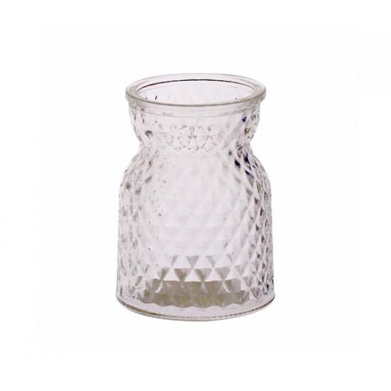 10.5cm Pressed Glass Flower Vase - GL046 11A
