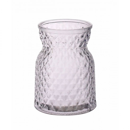 13.5cm Pressed Glass Flower Vase - GL029 10D
