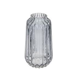 Retro Glass Flower Vase Grey 23cm - GL054
