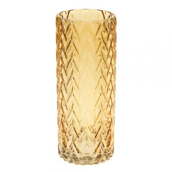 Retro Glass Flower Vase Amber Cylinder - GL116 3A