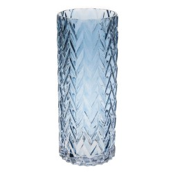 Retro Glass Flower Vase Blue Cylinder - GL117 3A