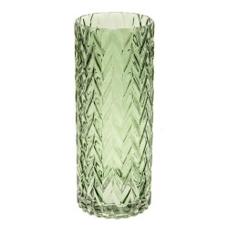 Retro Glass Flower Vase Green Cylinder - GL118 3A
