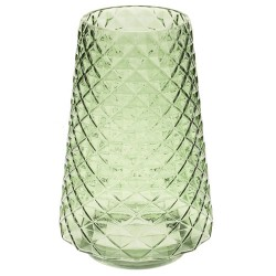 Retro Glass Flower Vase Green Diamond - GL125 6B