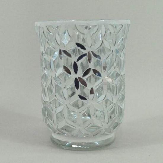 Silver Mosaic Hurricane Vase - CYL004 8E