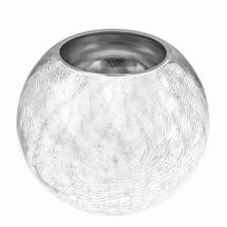 Silver Crackle Glass Fishbowl Vase 17cm - GL200