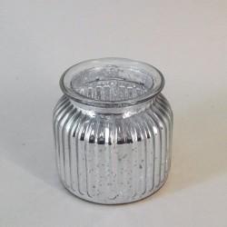 Silver Ribbed Mercury Glass Flower Vase 10cm - GL133