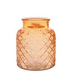 Small Lattice Vase Amber 16.5cm - GL035 10E