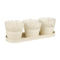 Set of Three Cream Metal Plant Pots on a Tray - TIN007 11C