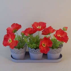 Set of Three Grey Metal Plant Pots on a Tray - TIN006