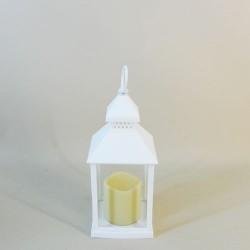 White Lantern with LED Candle 24cm - LAN006 11A