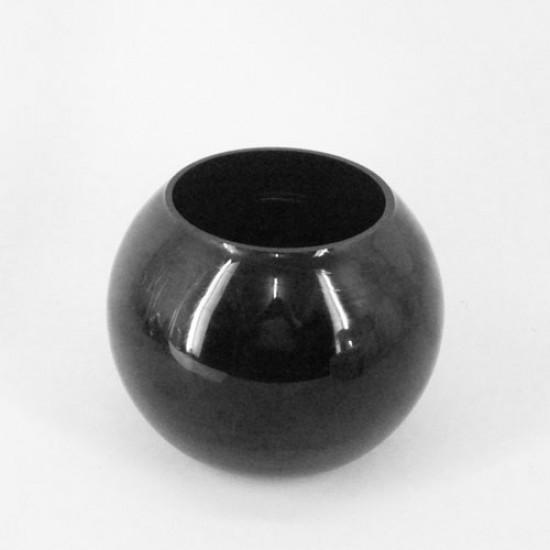 Black Glass Fishbowl Vase 15cm x 17.5cm - GL030 10D