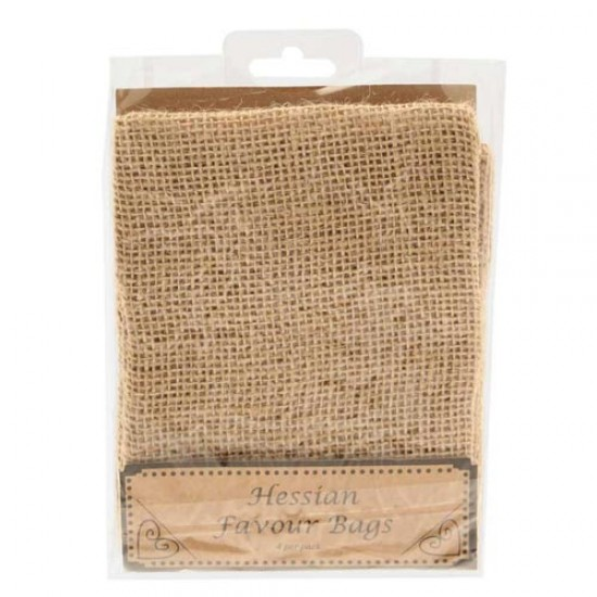 Burlap Hessian Favour Bags 4 Pack - WED201