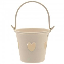 Cream Tinware Metal Buckets with Hearts for Wedding Favours - TIN002 7C