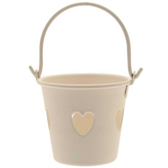 Cream Tinware Metal Buckets with Hearts for Wedding Favours - TIN002 7B