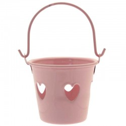 Pink Tinware Metal Buckets with Hearts for Wedding Favours - TIN004 7B