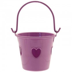 Purple Tinware Metal Buckets with Hearts for Wedding Favours - TIN003 7C