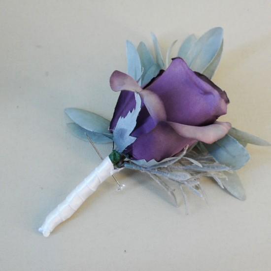 Aubergine Purple Eternity Rose Boutonniere Buttonhole - R246a