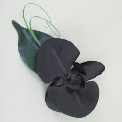 Black Silk Orchid Boutonniere - OBH006