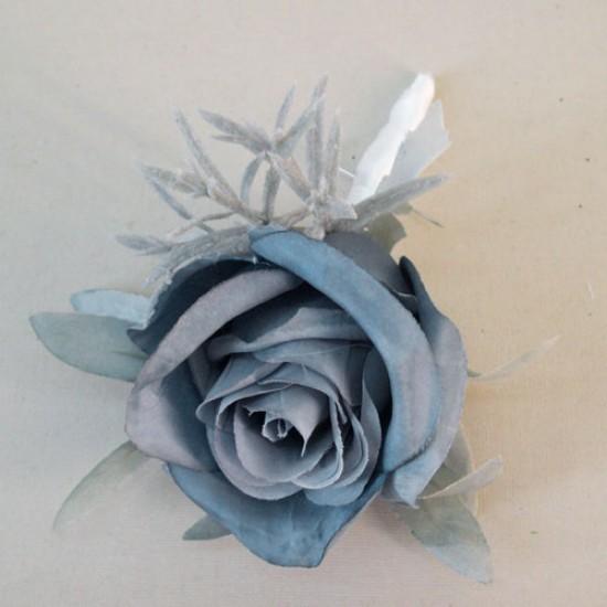 Blue Eternity Rose Boutonniere Buttonhole - R247a