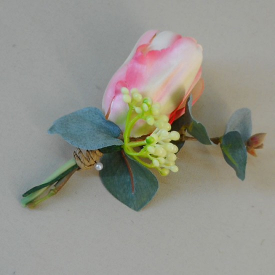 Bowness Faux Flowers Boutonniere Pink Tulip - BOW003