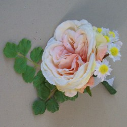Cara Artificial Rose and Daisies Boutonniere - CARA005