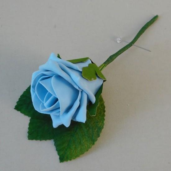 Colourfast Foam Rose Boutonniere Buttonhole Pale Blue - R463