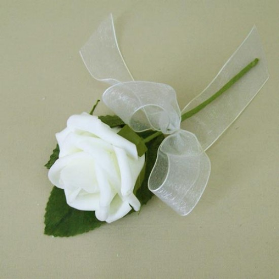 Colourfast Foam Rose Boutonniere Buttonhole Ivory - R356 O3