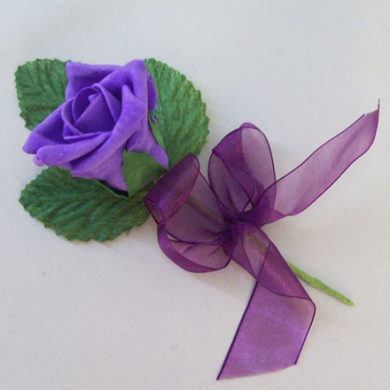 Colourfast Foam Rose Boutonniere Buttonhole Purple - R676 BX17