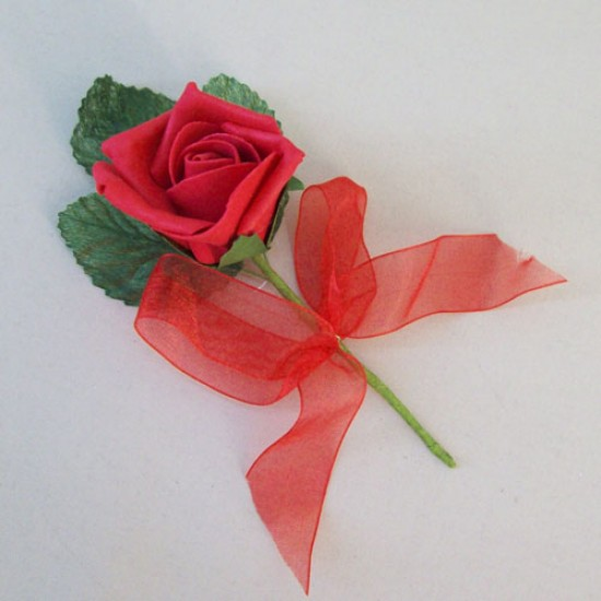 Colourfast Foam Rose Boutonniere Buttonhole Red - R675 M3