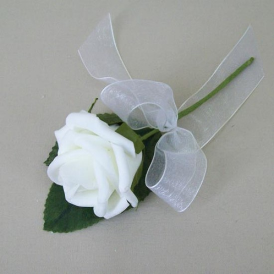 Colourfast Foam Rose Boutonniere Buttonhole White - R355 O3