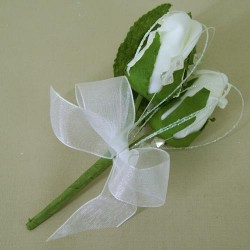 Colourfast Foam Roses Boutonniere or Corsage Ivory - R358 S2