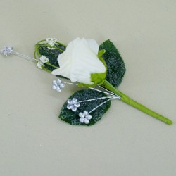 Cream Rose Boutonniere with Jewels - AXB006b T1