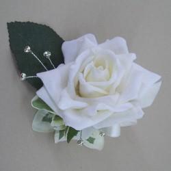Cream Velvet Rose Boutonniere Buttonhole - BD027a