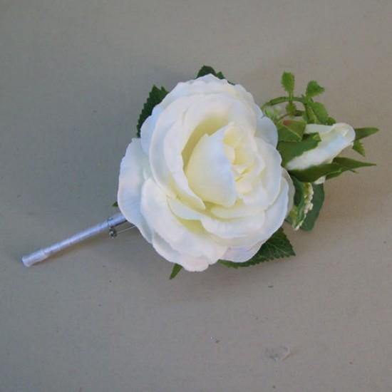 Evie Cottage Garden Boutonniere Buttonhole or Corsage Cream - EVI006 U1