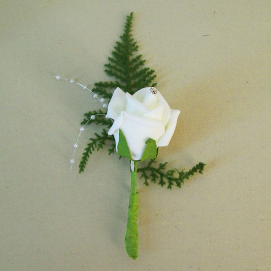 Foam Rose Boutonniere Buttonhole with Fern Ivory - R720 BX9