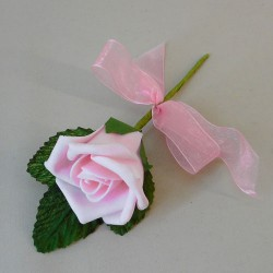 Colourfast Foam Rose Boutonniere Buttonhole Pale Pink - R462 T2