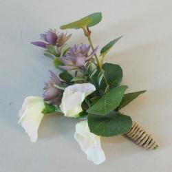 Honister Faux Flowers Boutonniere Mauve Purple - HON006