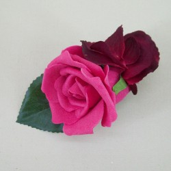 Foam Rose and Hydrangea Boutonniere Hot Pink - BH006