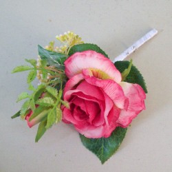 Lizzie Cottage Garden Boutonniere Buttonhole or Corsage Pink - R816 T1