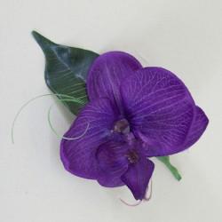 Purple Silk Orchid Boutonniere - OBH005