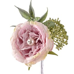 Pearl Wedding Rose Corsage or Buttonhole Pink - PEA006 FF3