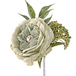 Pearl Wedding Rose Corsage or Buttonhole Sage Green - PEA008 FF3
