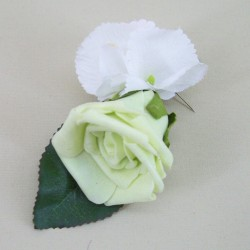 Foam Rose and Hydrangea Boutonniere Pistachio Green - BH001
