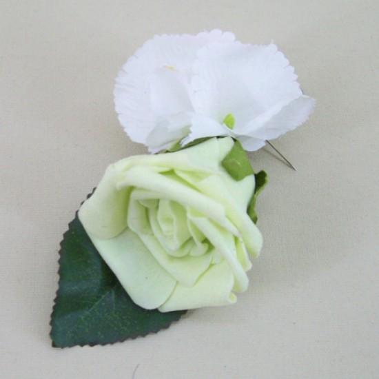 Foam Rose and Hydrangea Boutonniere Pistachio Green - BH001