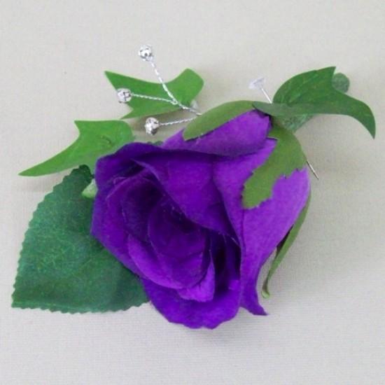 Purple Rose Boutonniere Buttonhole - ADEC07b